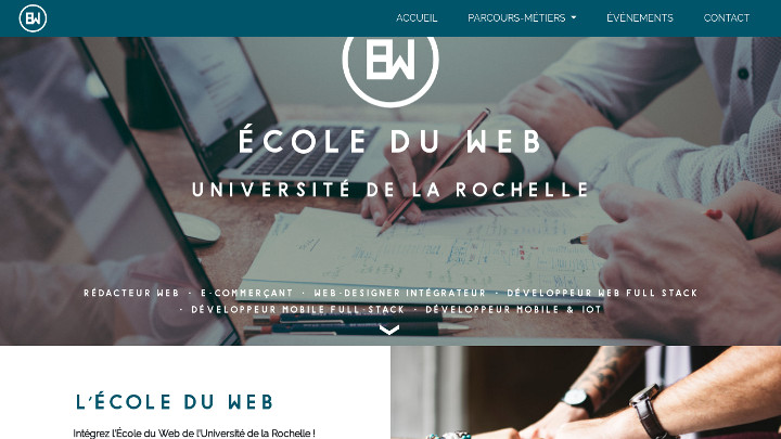 Screenshot du site internet École du Web