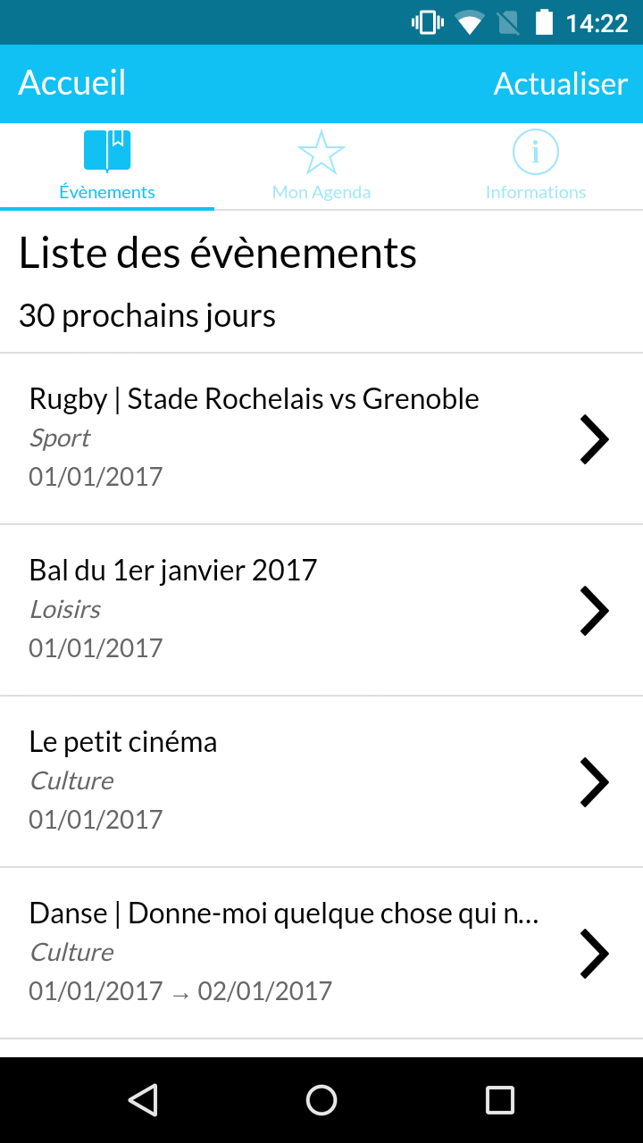 Screenshot de l'application mobile Agenda La Rochelle