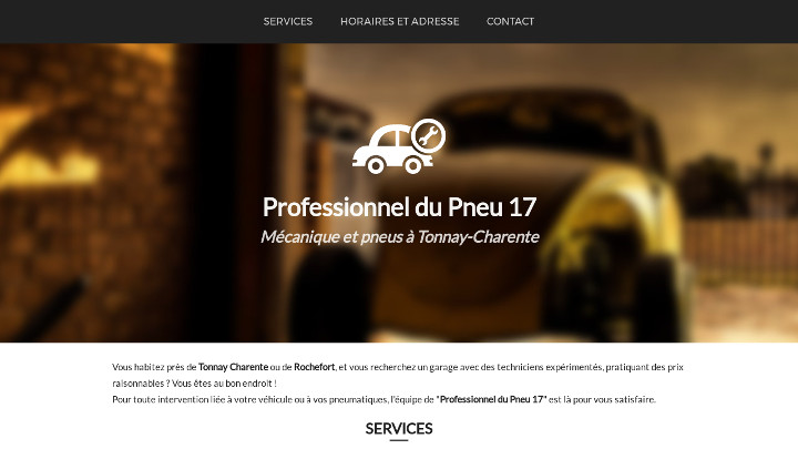 Screenshot du site internet Propneus17.fr