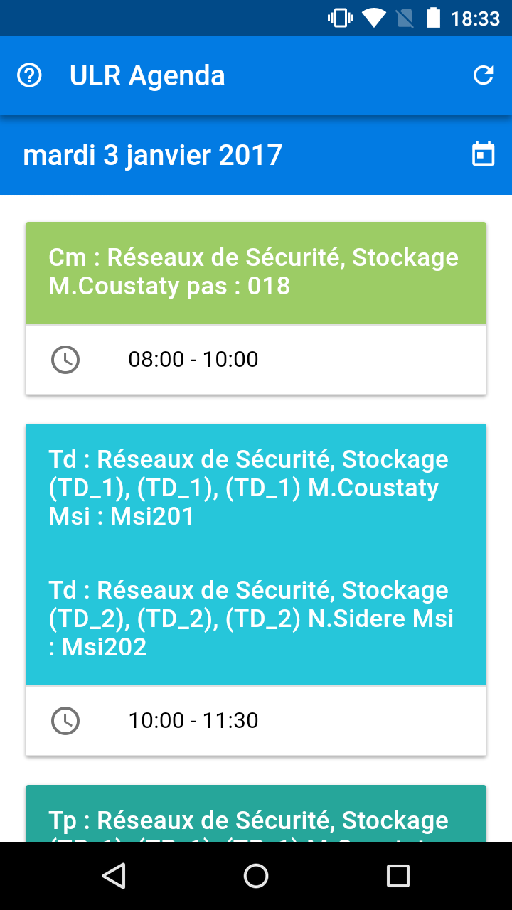 Screenshot de l'application mobile ULR Agenda